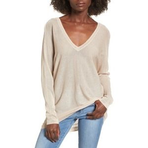 Leith small Double V-Neck Sweater Top Beige